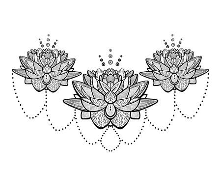 Dibujo de tatuaje ornamental de flores de loto, ilustración vectorial