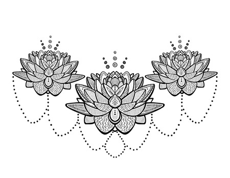 Lotus flowers ornamental tattoo sketch, vector illustration