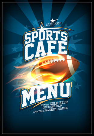 Sports cafe menu card with rugby ball in a fiery flame, old style poster design
