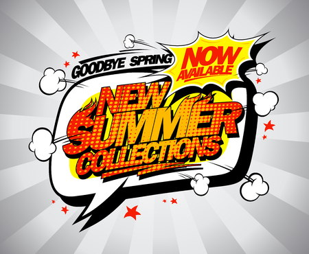 New summer collections advertising poster, coming soon poster, comic style Ilustração