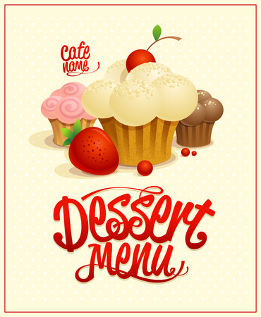 Dessert menu cover design with cupcakes, cakes and berries