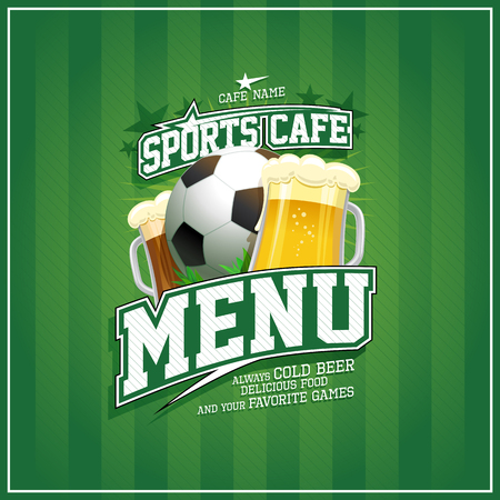 Sports cafe menu cover design with football ball and beer mugs, sports lettering Ilustrace