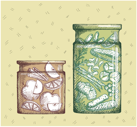 Hand drawn illustration with canned fruits and vegetables. Jam with apple and lemon slices and vegetable canned assorti.