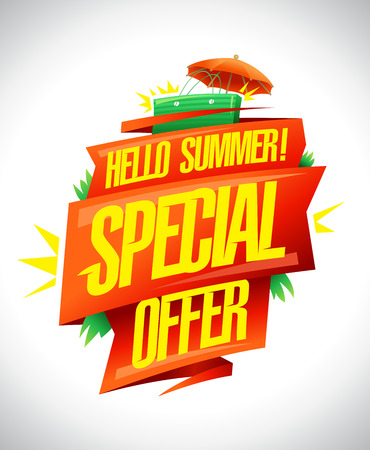 Hello summer, special offer, vector sale poster concept