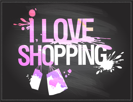 I love shopping, chalkboard vector illustration with shopping paper bags