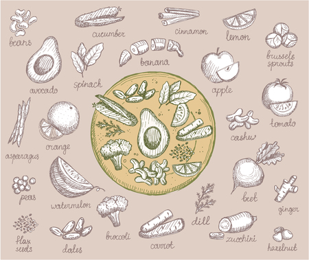 Vegetarian food symbols, hand drawn assorted fruits, vegetables and nuts, vegetable plate