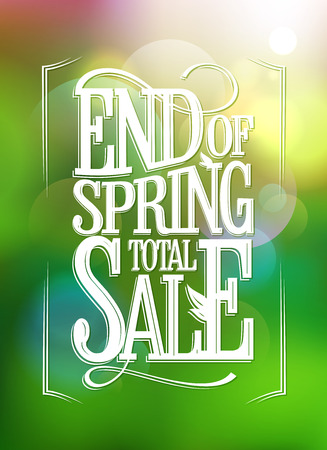 End of spring sale vector banner, old style lettering Ilustrace