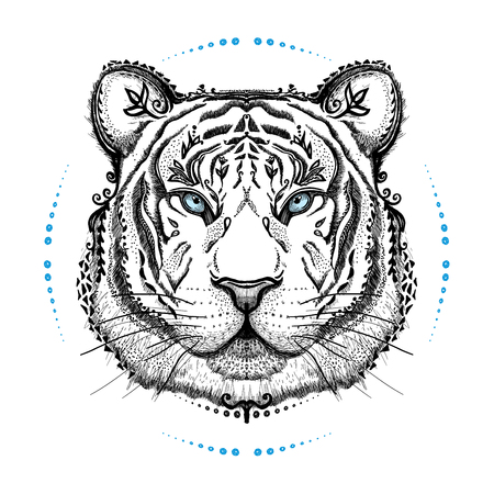 Graphic poster with tiger, front view portrait, hand drawn vector illustration, tattoo design