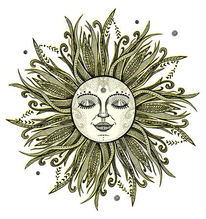 Sun tattoo sketch, hand drawn vector illustration Ilustração