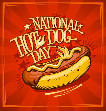 National hot dog day, vector banner design concept Ilustração