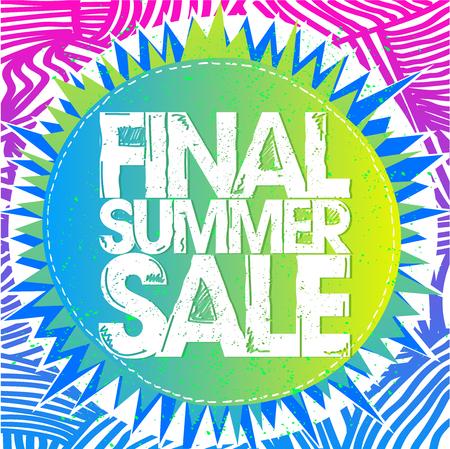 Concepto de cartel de venta de verano final, estilo étnico, vector