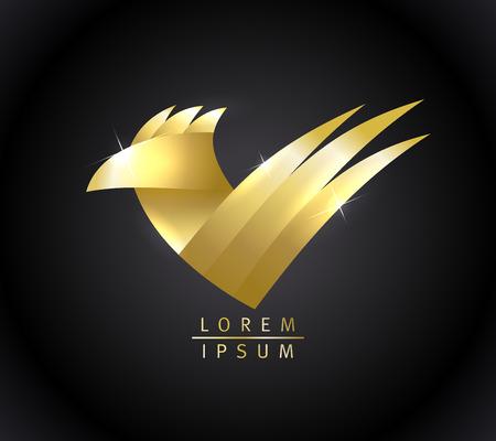 Golden bird logotype, check mark symbol Ilustração