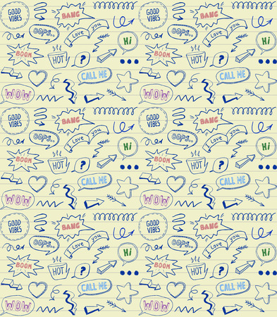 Doodle style seamless pattern with speech bubbles and comic style elements on a line paper
