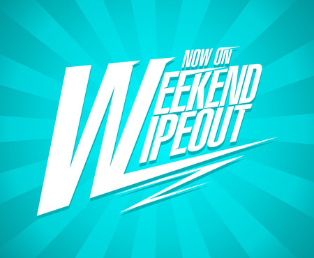 Weekend wipeout now on, sale banner concept Ilustrace
