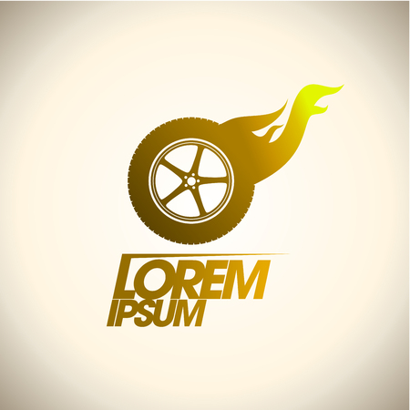 Golden hot burning wheel logo template 스톡 콘텐츠 - 123491518