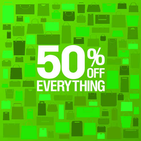 50% off sale banner design concept, paper shopping bags green backdrop