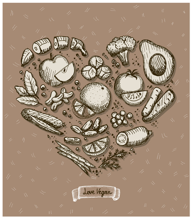 Heart shaped vegetables, fruits and nuts, hand drawn illustration
