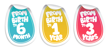 Stickers for baby goods and clothes, from birth to six month, from birth to one year, from birth to three years Ilustrace