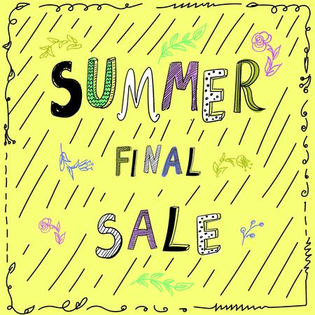 Venta final de verano, cartel de vector doodle dibujado a mano