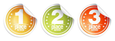 First place, second place, third place, medals, winner stickers set Reklamní fotografie - 128503620