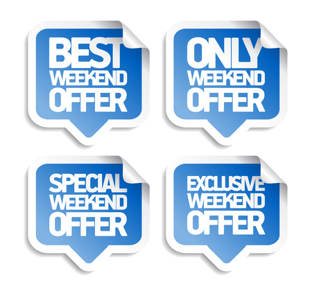 Weekend offer speech bubbles stickers set, best, special and exclusive offers Ilustrace