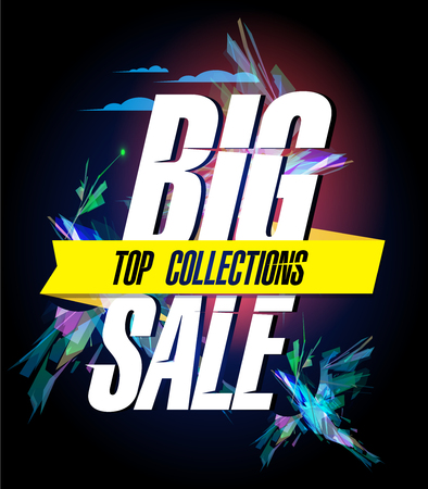 Big sale, top collections, vector poster concept with polygon blue birds