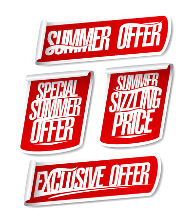 Best summer offers sale stickers set. Special, exclusive and sizzling offers signs collection Stock Vector - 124507994