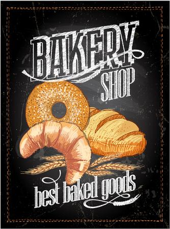 Bakery shop chalkboard poster, vintage style 向量圖像
