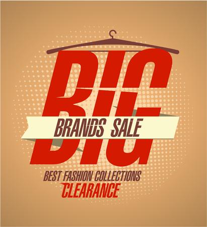 Big brands sale poster design concept, retro style