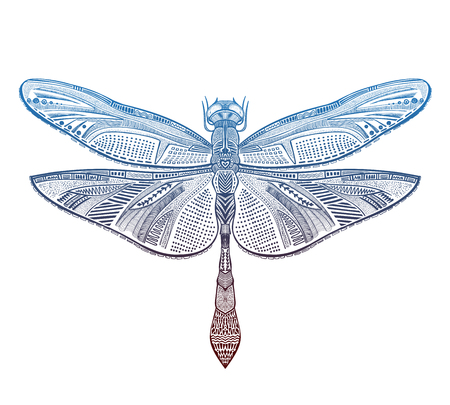 Art dragonfly vector illustration, tattoo sketch Ilustração