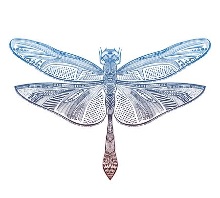 Illustrazione vettoriale di libellula di arte, schizzo del tatuaggio Vettoriali