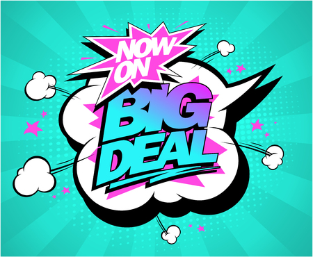 Big deal vector poster, sale concept, comic style