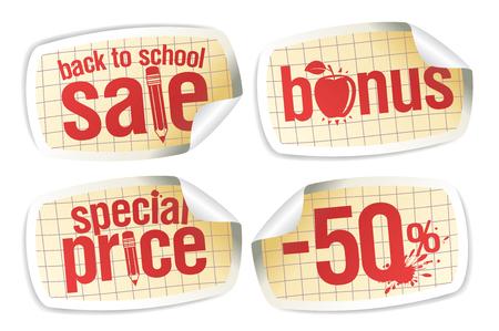 Back to school sale stickers set - bonus, special price, -50% off Stock Illustratie