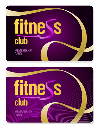 Fitness club membership cards set