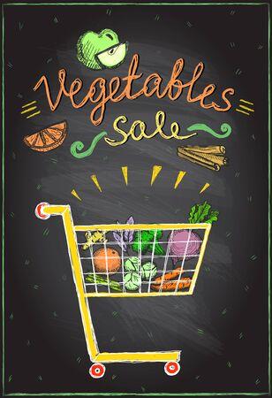 Vegetables sale chalkboard banner, market cart full of fruits and vegetables, hand drawn illustration Ilustração