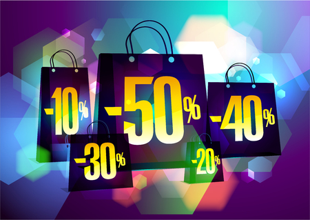 Discounts sale banner with paper shopping bags against fashion bokeh background
