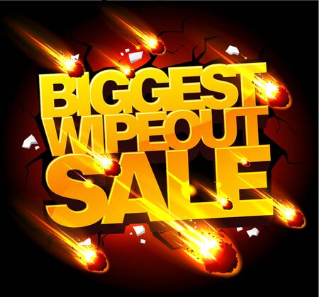 Biggest wipeout sale banner concept with gold letters and meteorites rain on the black night sky backdrop