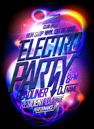 Electro party neon style poster design concept