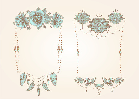 Boho style, hippie, indie style frames set with flowers, feathers and beads, hand drawn vector illustration Reklamní fotografie - 128503633