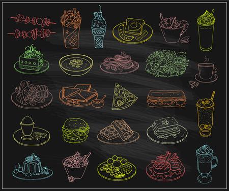 Símbolos de comida de platos surtidos en una pizarra, ilustración gráfica de línea con postres y bebidas, muchas entradas vegetarianas, platos principales