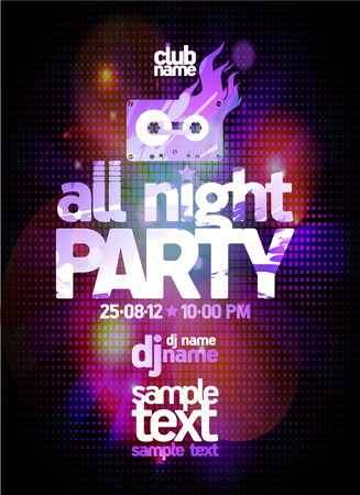 All night party poster design concept with place for text and disco lights
