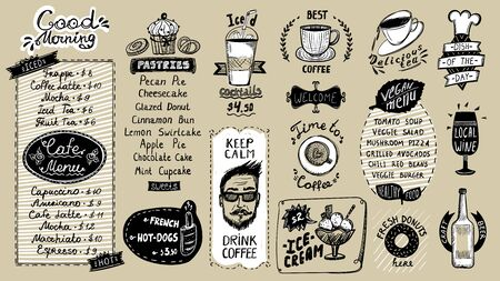 Cafe menu list design set, hand drawn doodle graphic illustration with pastries and drinks, vegan menu, coffee and tea symbols, ice cream and iced cocktails, hot dogs and donuts, wine and beer, etc. Ilustração