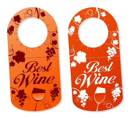 Tags set for a bottles of wine. Wine labels vector.