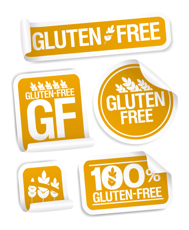 Gluten free food and pastry stickers set