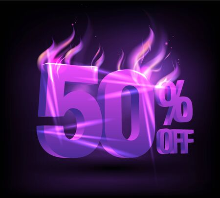 50% off fiery sale banner concept Stockfoto