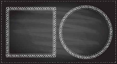Simple doodle frames set on a chalkboard, marine style with ropes. Square and round empty frames. Ilustrace