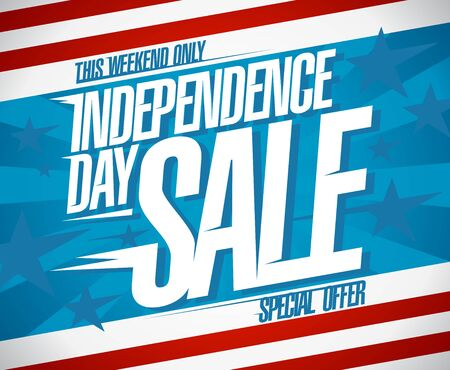 Independence day sale banner, special weekend offer design concept