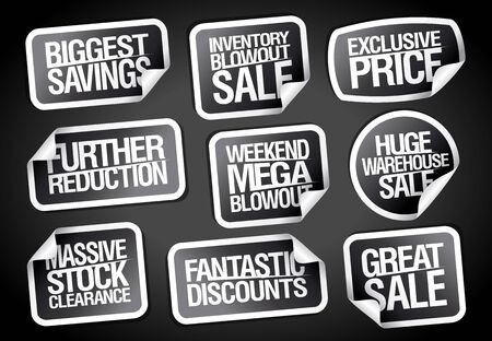 Sale theme stickers collection - further reductions, weekend blowout, biggest savings, great sale, exclusive price etc.