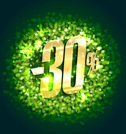 Sale up to 30% off, vector banner with green sparkles backdrop
