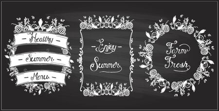 Vegetable frames set on a chalkboard, veggie elements, vintage style. Enjoy summer, farm fresh, healthy summer menu chalk design concept